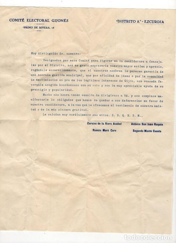 COMITÉ ELECTORAL GIJONES. DISTRITO 5º EZCURDIA. CADIDATURA PARA CONCEJALES. GIJÓN. ASTURIAS (Coleccionismo - Documentos - Otros documentos)