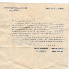 Documentos antiguos: COMITÉ ELECTORAL GIJONES. DISTRITO 5º EZCURDIA. CADIDATURA PARA CONCEJALES. GIJÓN. ASTURIAS. Lote 230593980