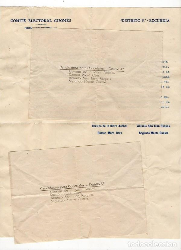 Documentos antiguos: COMITÉ ELECTORAL GIJONES. DISTRITO 5º EZCURDIA. CADIDATURA PARA CONCEJALES. GIJÓN. ASTURIAS - Foto 2 - 230593980