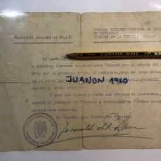 Documentos antiguos: DOCUMENTO, JUZGADO MILITAR DE DELITO DE ESPIONAJE GENERAL XXX XX XXXX ROSILLO, VALENCIA (A.1940). Lote 231029835
