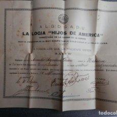 Documentos antiguos: MASONERÍA - CARNET CON TÍTULO DE PERTENENCIA LOGIA MASÓNICA AÑO 1917. Lote 231046705