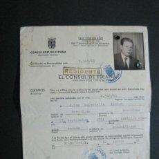 Documentos antiguos: CONSULADO DE ESPAÑA-CERTIFICADO NACIONALIDAD-SELLO CONSULADO FRANCFORT-AÑO 1961-VER FOTOS-(K-1409). Lote 231234775