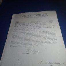 Documentos antiguos: ALFONSO XLL. DOCUMENTO MILITAR 1881. Lote 231707610