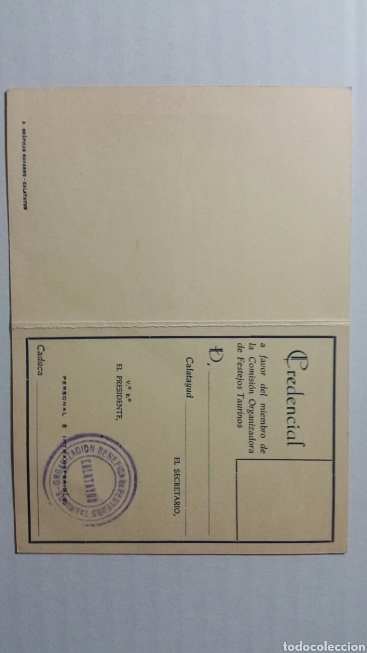 Documentos antiguos: Calatayud Credencial plaza de toros para miembros de la comisión ejecutiva - Foto 2 - 231778790