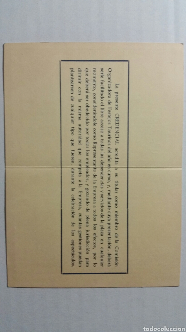 Documentos antiguos: Calatayud Credencial plaza de toros para miembros de la comisión ejecutiva - Foto 3 - 231778790