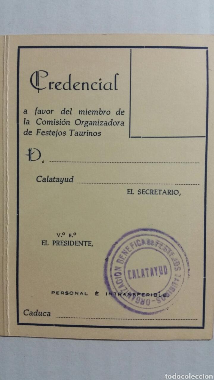 CALATAYUD CREDENCIAL PLAZA DE TOROS PARA MIEMBROS DE LA COMISIÓN EJECUTIVA (Coleccionismo - Documentos - Otros documentos)