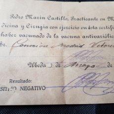 Documentos antiguos: RECIBO VACUNA CONTRA LA RABIA UBEDA 1941. Lote 233207545