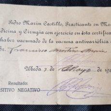 Documentos antiguos: RECIBO VACUNA CONTRA LA RABIA UBEDA 1941. Lote 233207620