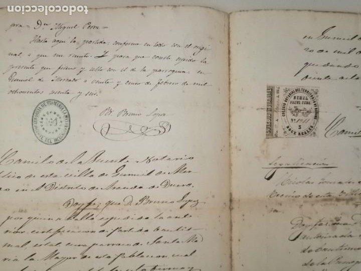 Documentos antiguos: Certificado partida de nacimiento 1866 Gumiel del Mercado Colegio Notarial de Burgos Doce 12 reales - Foto 2 - 233245200
