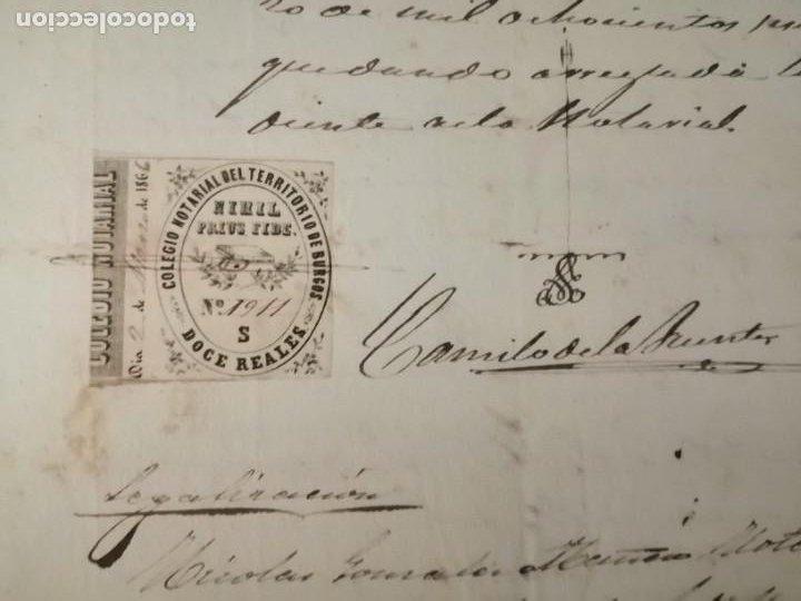 Documentos antiguos: Certificado partida de nacimiento 1866 Gumiel del Mercado Colegio Notarial de Burgos Doce 12 reales - Foto 3 - 233245200