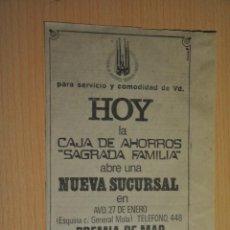 Documentos antiguos: ANUNCIO CAJA DE AHORROS SAGRADA FAMILIA. Lote 233795035
