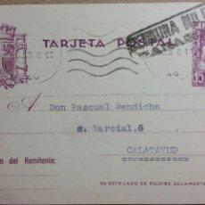 Documentos antiguos: TARJETA POSTAL CENSURA MILITAR DE ZARAGOZA AÑO 1938. Lote 234140135