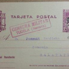 Documentos antiguos: TARJETA POSTAL CENSURA MILITAR DE TUDELA AÑO 1938. Lote 234140735