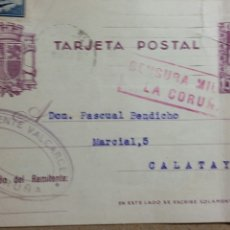 Documentos antiguos: TARJETA POSTAL CENSURA MILITAR DE LA CORUÑA AÑO 1938 SELLO PRO COMBATIENTES CORUÑA. Lote 234140995