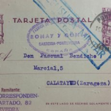 Documentos antiguos: TARJETA POSTAL CENSURA MILITAR DE PONTEVEDRA FABRICA ROMAY Y GOMEZ. Lote 234141215