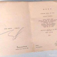 Documentos antiguos: MENÚ DE RESTAURANTE HOTEL CASTELLANA - HILTON, DE MADRID, AÑO 1961. Lote 27199378