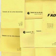 Documentos antiguos: LOT 9 DOCUMENTS FOMENTO DE LAS ARTES DECORATIVAS FAD MEMORIAS Y BOLETINES 1962. Lote 234809240