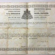 Documentos antiguos: PATRIZI, COSTANTINO. AUTENTICACIÓN DE UNA RELIQUIA DE SAN JUAN BAUTISTA FIRMA AUTÓGRAFA DEL CARDENAL. Lote 234842075