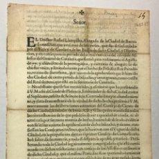 Documentos antiguos: LLAMPILLAS, RAFAEL. [SUPLICACIÓN]. SEÑOR. EL DOCTOR RAFAEL LLAMPILLAS... LEER DESCRIPCION. Lote 234850385
