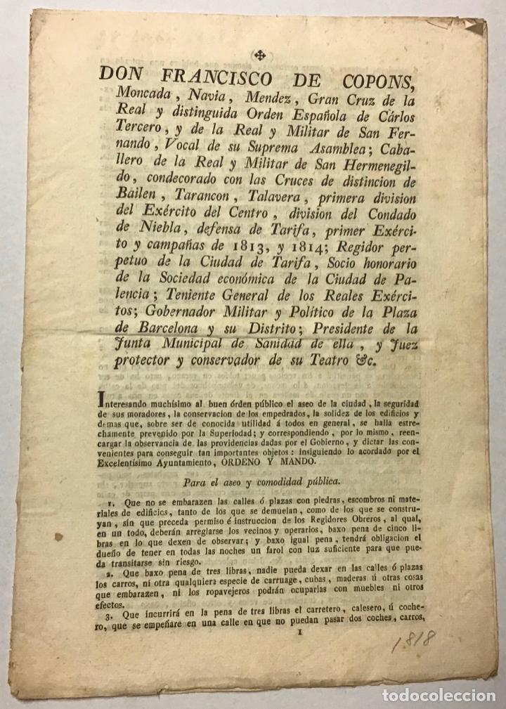 BARCELONA, GOBIERNO MILITAR Y POLÍTICO. [EDICTO]. DON FRANCISCO DE COPONS ... INTERESANDO MUCHÍSIMO (Coleccionismo - Documentos - Otros documentos)