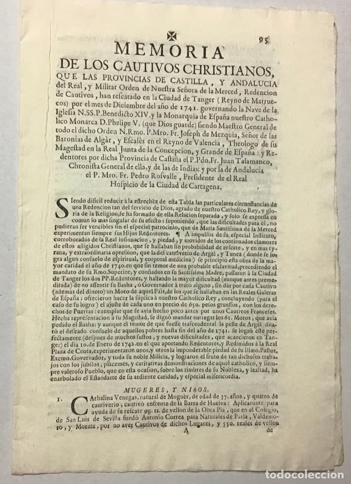 MERCED, ORDEN DE LA. MEMORIA DE LOS CAUTIVOS CHRISTIANOS, QUE LAS PROVINCIAS DE CASTILLA, Y ANDALUCI (Coleccionismo - Documentos - Otros documentos)