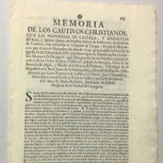 Documentos antiguos: MERCED, ORDEN DE LA. MEMORIA DE LOS CAUTIVOS CHRISTIANOS, QUE LAS PROVINCIAS DE CASTILLA, Y ANDALUCI. Lote 234853075