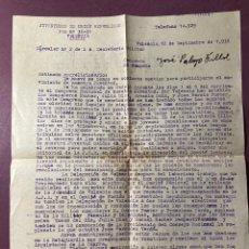 Documentos antiguos: GUERRA CIVIL. JUVENTUDES DE UNIÓN REPUBLICANA VALENCIA. 1938. Lote 234889940