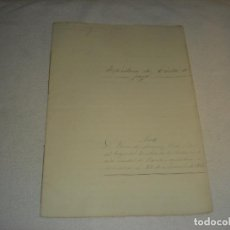 Documentos antiguos: ESCRITURA DE CARTA DE PAGO ANTE FERNANDO MORAGAS, NOTARIO EN 1866.. Lote 234988145