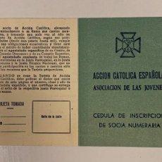 Documentos antiguos: CARNET - CEDULA ACCION CATOLICA ESPAÑOLA. ASOCIACION DE LAS JOVENES. CUPON. AÑOS 1951 VALENCIA. Lote 235350285