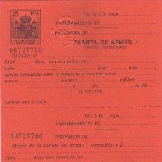 Documentos antiguos: TARJETA DE ARMAS PARA CARABINAS Y PISTOLAS, ARCOS Y BALLESTAS - COMPLETA Y NUEVA. Lote 235841725