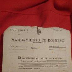 Documentos antiguos: DOCUMENTO. MANDAMIENTO DE INGRESO. MATA SELLOS PUBLICITARIO JEREZ DE LA FRONTERA.CADIZ.AÑOS 40.. Lote 235850750