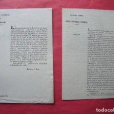 Documentos antiguos: LOTERIAS.-DIRECCION GENERAL DE LOTERIAS.-MARIANO DE ZEA.-A.1853.-RENTAS Y LOTERIAS.-CIRCULAR.-A.1866. Lote 236191720