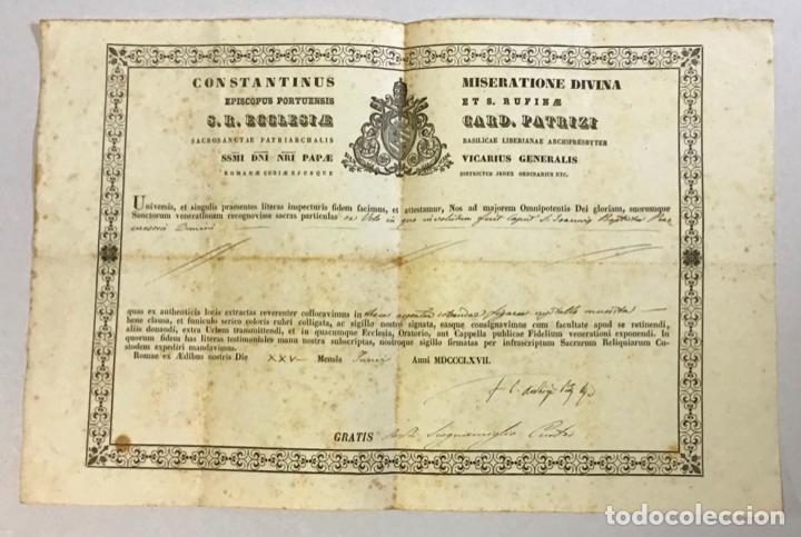 PATRIZI, COSTANTINO. AUTENTICACIÓN DE UNA RELIQUIA DE SAN JUAN BAUTISTA FIRMA AUTÓGRAFA DEL CARDENAL (Coleccionismo - Documentos - Otros documentos)