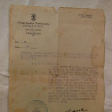 Documentos antiguos: ANTIGUO DOCUMENTO : CERTIFICADO DE FAMILIA. CATARROJA. 1941 RUANO RODRIGO VTE (JEFE LOCAL FALANGE). Lote 236585740