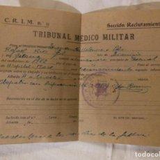 Documentos antiguos: ANTIGUO DOCUMENTO : TRIBUNAL MÉDICO MILITAR. 1939 SECCIÓN RECLUTAMIENTO. VALENCIA. Lote 236586845