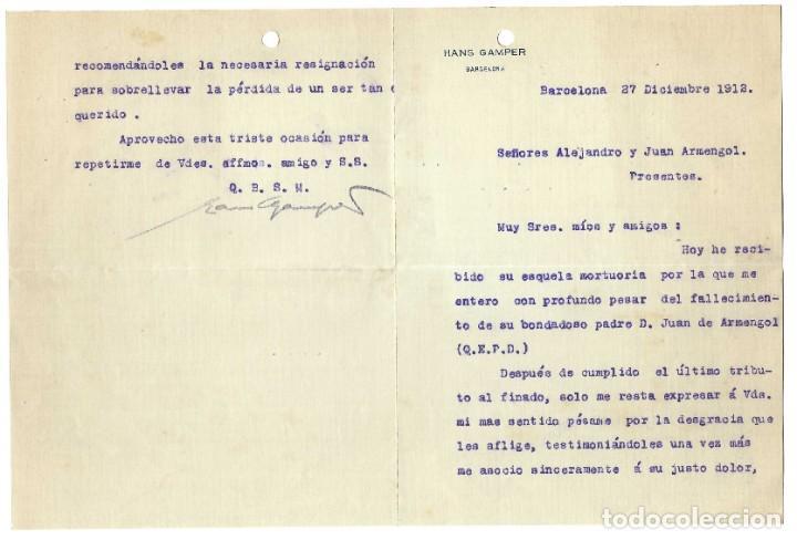 CARTA HANS GAMPER FUNDADOR FUTBOL CLUB BARCELONA- 1912 (Coleccionismo - Documentos - Otros documentos)