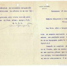 Documentos antiguos: CARTA HANS GAMPER FUNDADOR FUTBOL CLUB BARCELONA- 1912. Lote 236789715