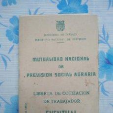 Documentos antiguos: LIBRETA DE COTIZACION DE TRABAJADOR EVENTUAL AÑO 1962. Lote 236918105
