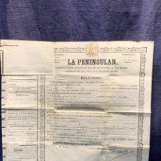 Documentos antiguos: PENINSULAR SEGUROS MUTUOS COMPAÑIA VIDA HUMANA POLIZA 20 AÑOS CAPITAL SIN RIESGO 10 MIL REALES 1863. Lote 236921345