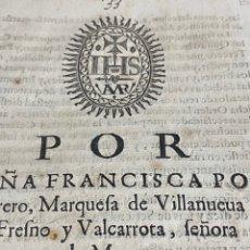 Documentos antiguos: CIRCA 1650. BADAJOZ. BARCARROTA. OBISPO BADAJOZ. HISTORIA MARQUESADO. ALCANTARA.. Lote 237374520