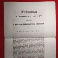 Documentos antiguos: 1834. EXPOSICIÓN Y PROYECTO LEY. SITUACIÓN TESORO. DESFALCOS. ARDOIN/ROTHSCHILD.. Lote 237936800