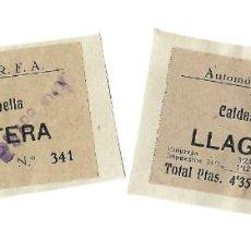 Documents Anciens: LOTE DE 2 BILLETES DE AUTOMÓVILES S.A.R.F.A. CALDAS DE MALAVELLA A LLAGOSTERA- 1949. Lote 238425630