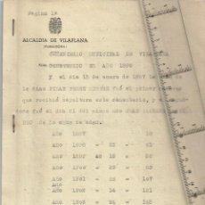 Documentos antiguos: 1897 1936 CEMENTERIO MUNICIPAL DE VILAPLANA RELACIÓN DE FALLECIDOS, NOMBRE, EDAD DESDE 1897 A 1936. Lote 238706570