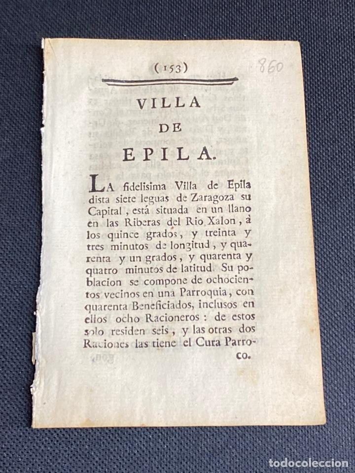 DESCRIPCIÓN DE ÉPILA DEL AÑO 1779. IMPRESO ORIGINAL. (Coleccionismo - Documentos - Otros documentos)