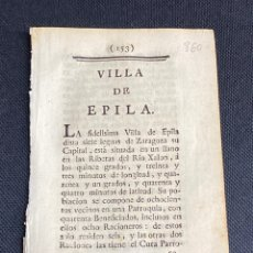 Documentos antiguos: DESCRIPCIÓN DE ÉPILA DEL AÑO 1779. IMPRESO ORIGINAL.. Lote 238838090
