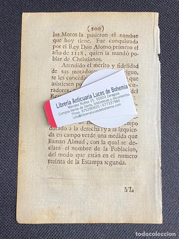 Documentos antiguos: DESCRIPCIÓN DE LA VILLA DE ALMUDEVAR DEL AÑO 1779. IMPRESO ORIGINAL. - Foto 2 - 238839750
