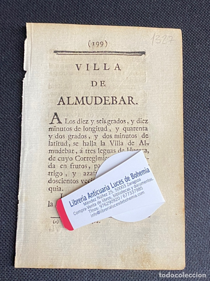 DESCRIPCIÓN DE LA VILLA DE ALMUDEVAR DEL AÑO 1779. IMPRESO ORIGINAL. (Coleccionismo - Documentos - Otros documentos)