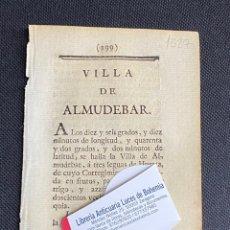 Documentos antiguos: DESCRIPCIÓN DE LA VILLA DE ALMUDEVAR DEL AÑO 1779. IMPRESO ORIGINAL.. Lote 238839750