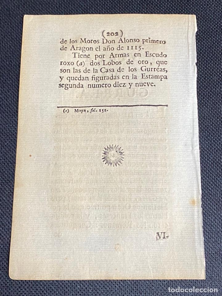 Documentos antiguos: DESCRIPCIÓN DE LA VILLA DE GURREA DEL AÑO 1779. IMPRESO ORIGINAL. - Foto 2 - 238840165