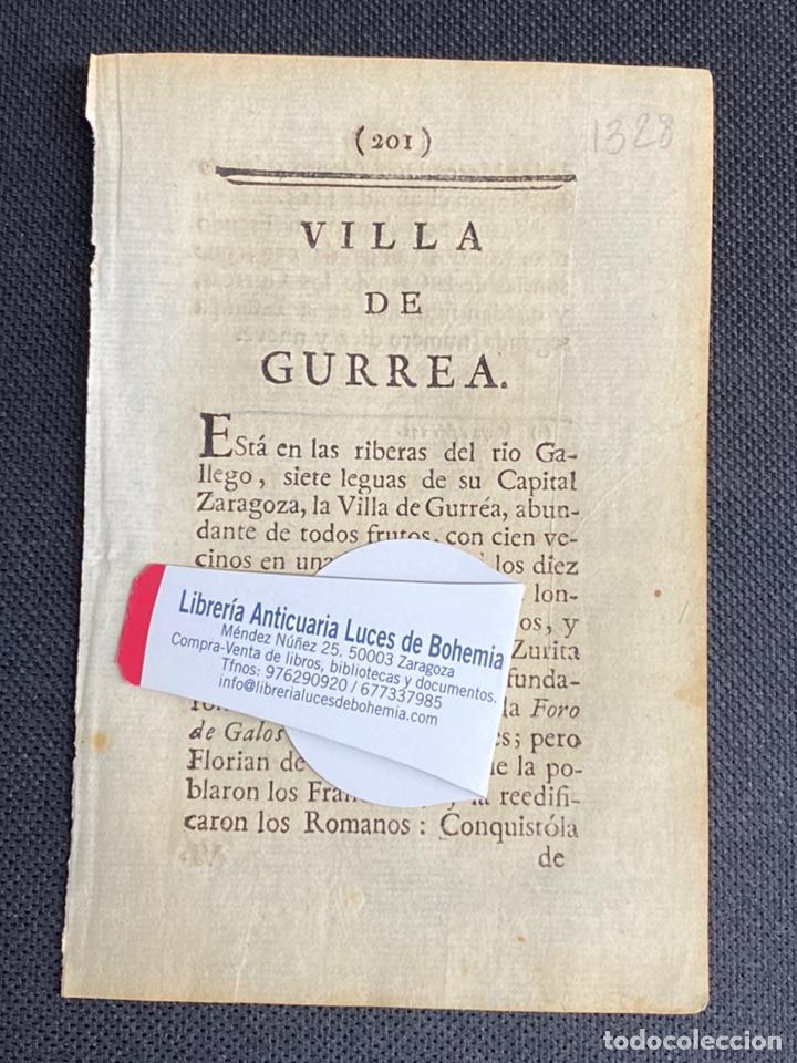 DESCRIPCIÓN DE LA VILLA DE GURREA DEL AÑO 1779. IMPRESO ORIGINAL. (Coleccionismo - Documentos - Otros documentos)